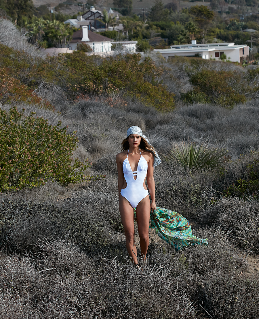 Textured White Reversible Cut-Out One-Piece