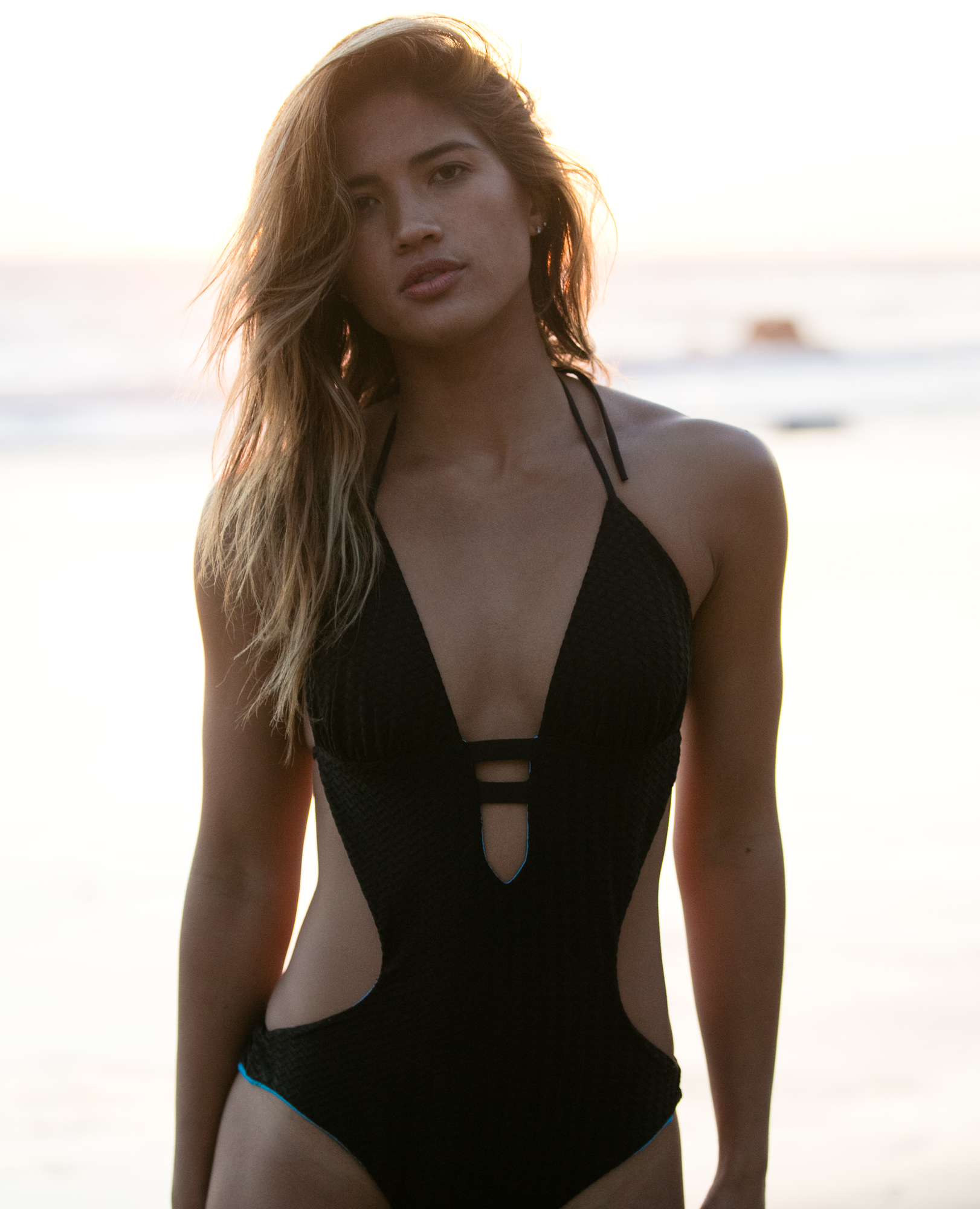 Textured Black Reversible Cut-Out One-Piece