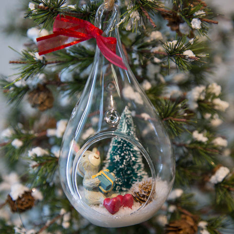 Glass Terrarium Ornament Design Display, Snow Bunny with Gift
