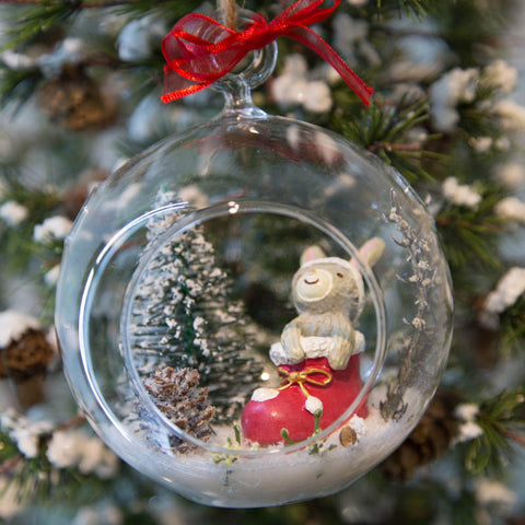 Glass Terrarium Ornament Design Display, Snow Bunny in Stocking