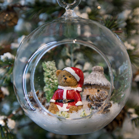 Glass Terrarium Ornament Design Display, Santa Bear