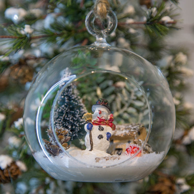 Glass Terrarium Ornament Design Display, Snowman by Christmas Tree