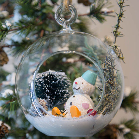 Glass Terrarium Ornament Design Display, Snowman with Hat