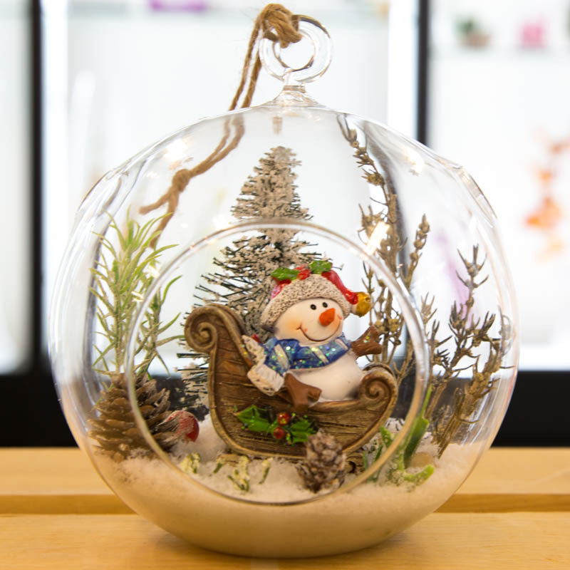 Large Glass Terrarium Ornament Christmas Holiday Snowman Sleigh