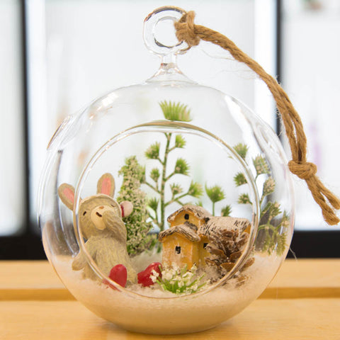 Glass Terrarium Ornament Design Display, Snow bunny with Cabin