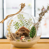 Glass Terrarium Ornament Design Display, Snowman by Cabin