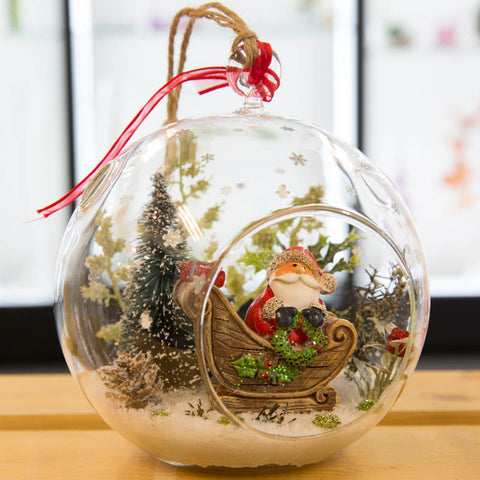 Large Glass Terrarium Ornament Christmas Holiday Santa Sleigh in Snow