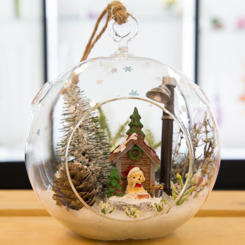 Copy of Large Glass Terrarium Ornament Christmas Holiday Dog House