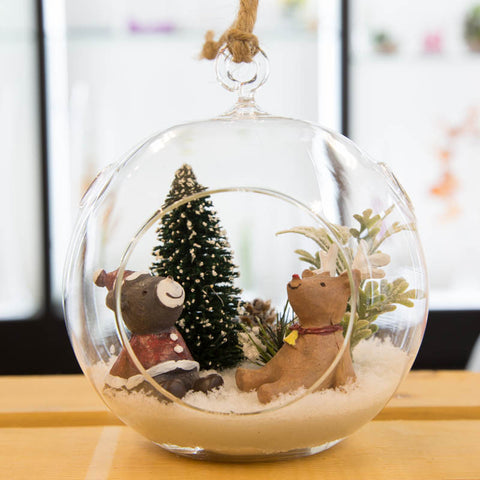 Glass Terrarium Ornament Design Display, Two Bears