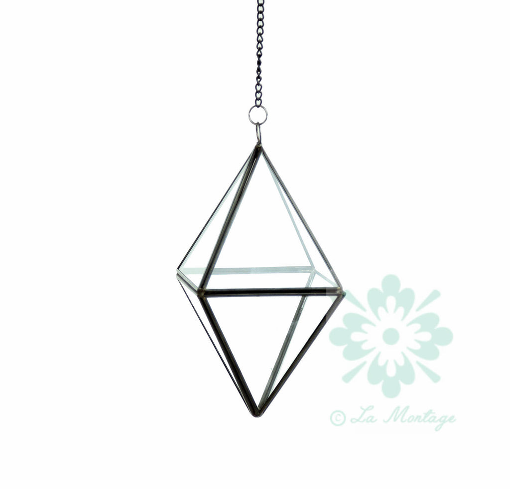 "Black Standing Diamond Geometric Glass Terrarium. 8""H"