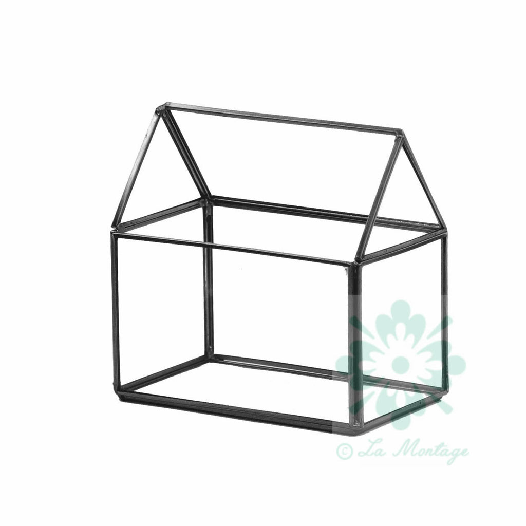 "Black House Geometric Glass Terrarium. 6""H"