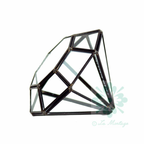 "Black Diamond Geometric Glass Terrarium. 6""H"