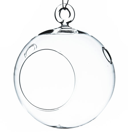 "4"" Hanging Round Terrarium Ball with Round Bottom / Candle Holder (Set of 6 ) - CH0104R"