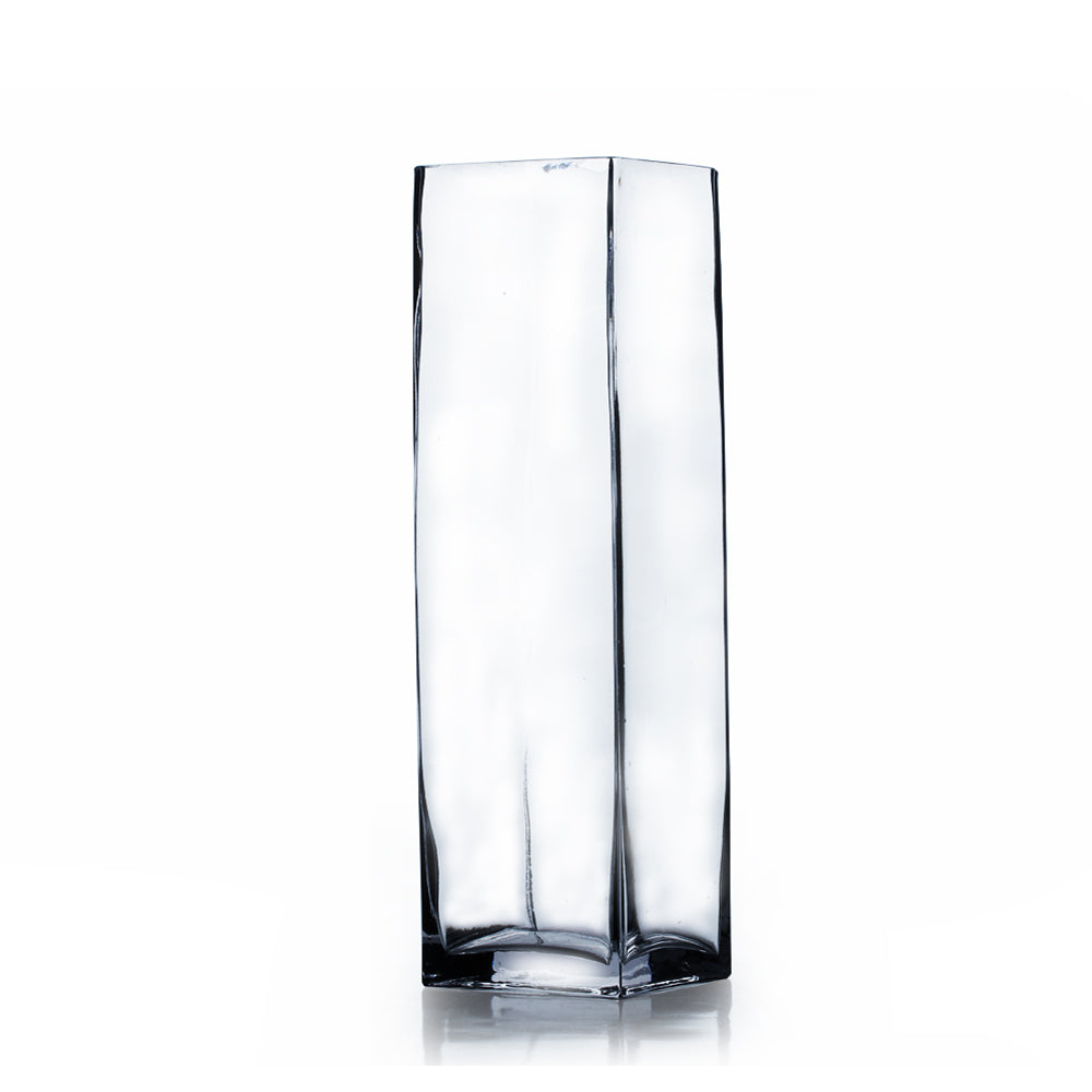 "4"" x 12"" Clear Square Block Vase (Set of 3) - BV0412"