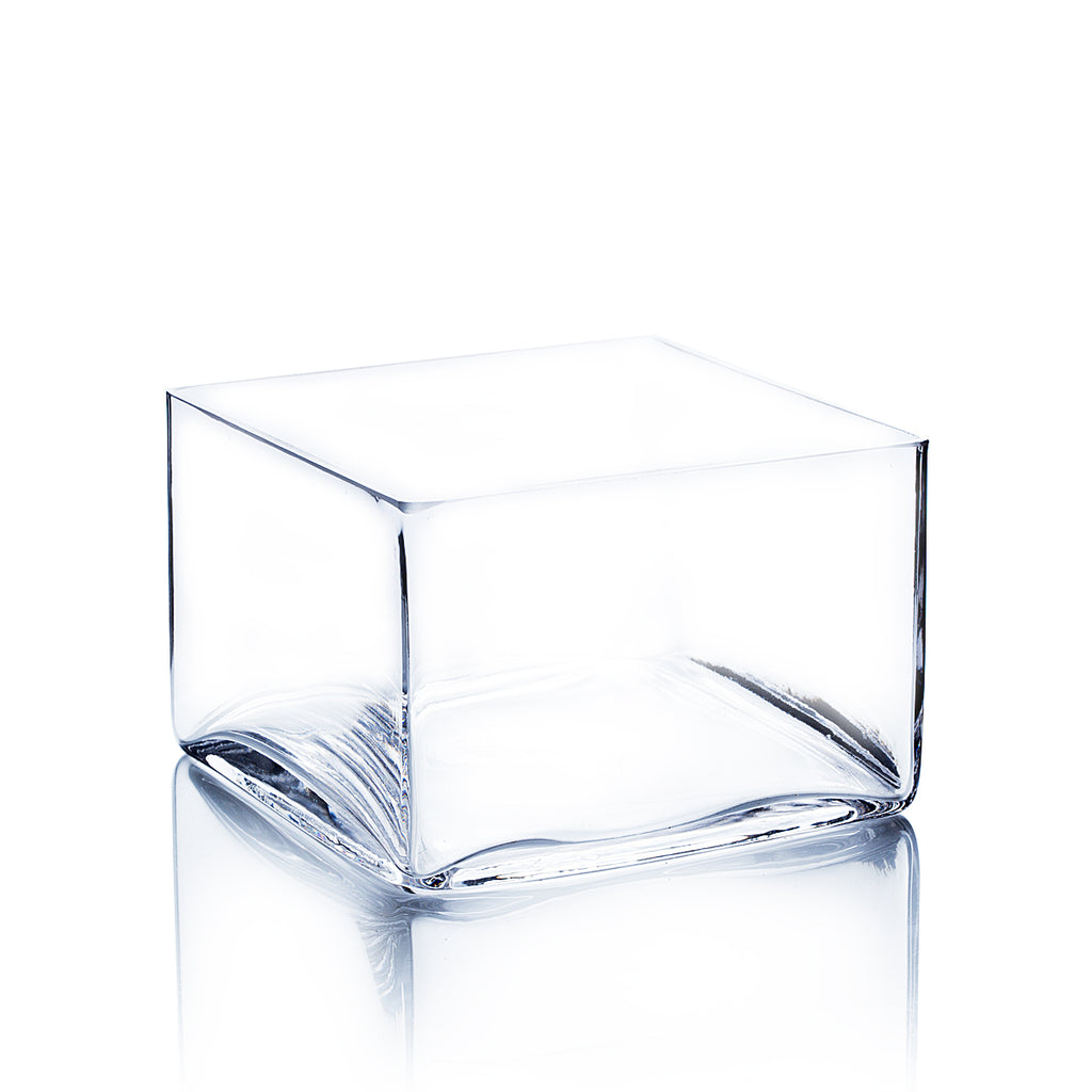"6"" x 4"" Clear Square Block Vase (Set of 3)"