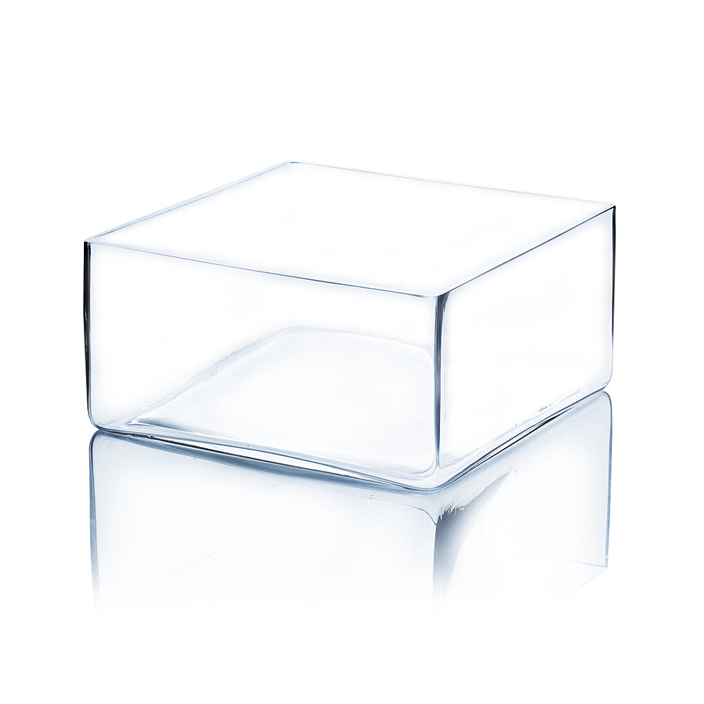 "8"" x 4"" Clear Square Block Vase"