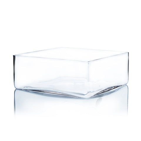 "10"" x 4"" Clear Square Block Vase - BV1004"