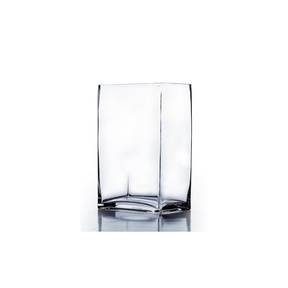 "3"" x 4"" x 7"" Clear Rectangular Block Vase (Set of 3) - BV3407"