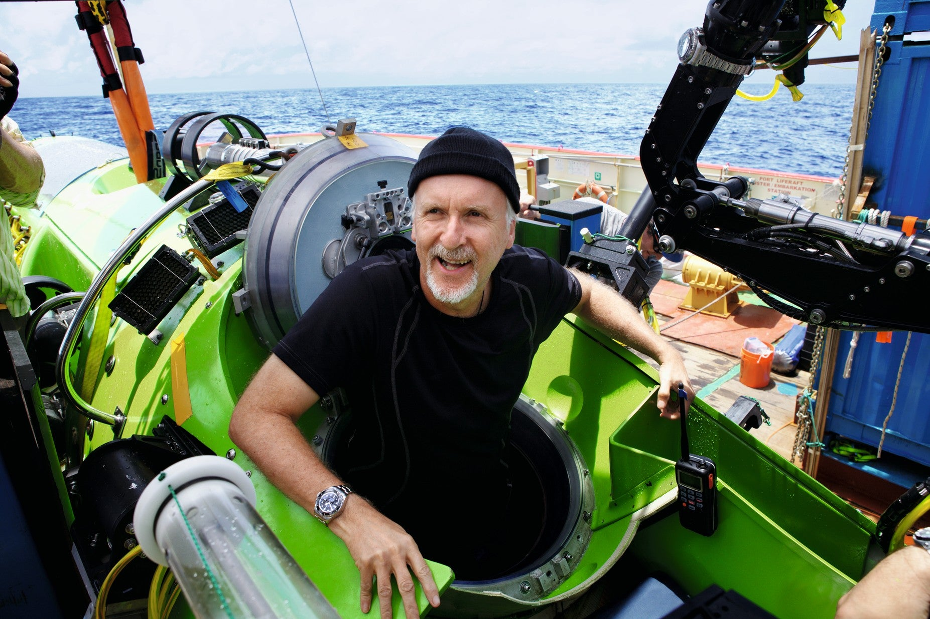 Director James Cameron boarding his submersible ready to dive to the bottom of the Mariana Trench for A Collected Man London