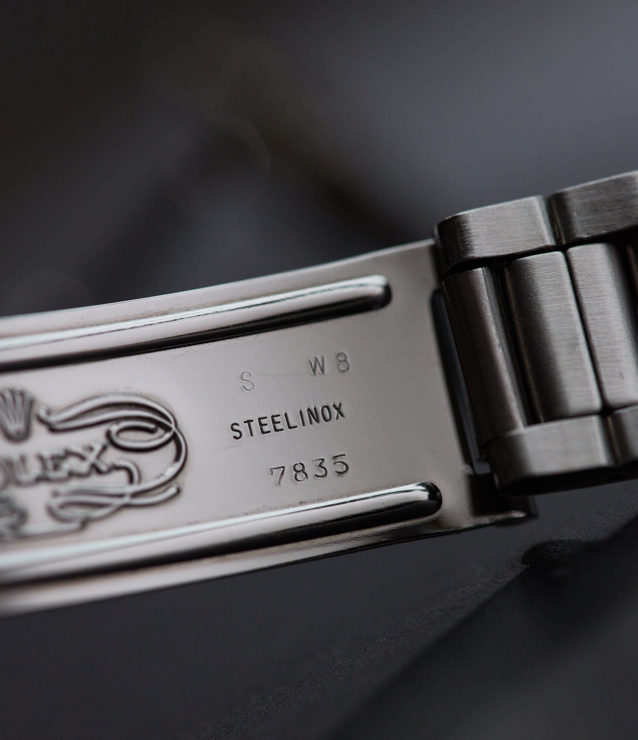 The stamping and codes of a Rolex Oyster bracelet for A Collected Man London