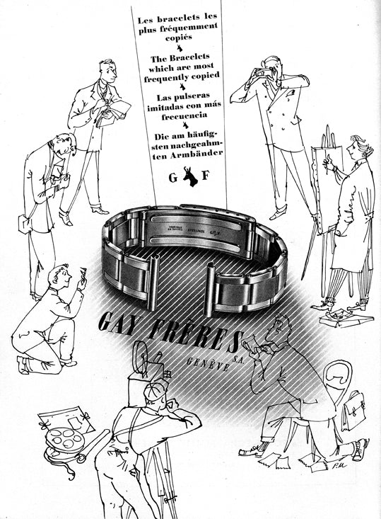 A classic Gay Frères advertisement proudly stating that they produce Oyster bracelets for A Collected Man London