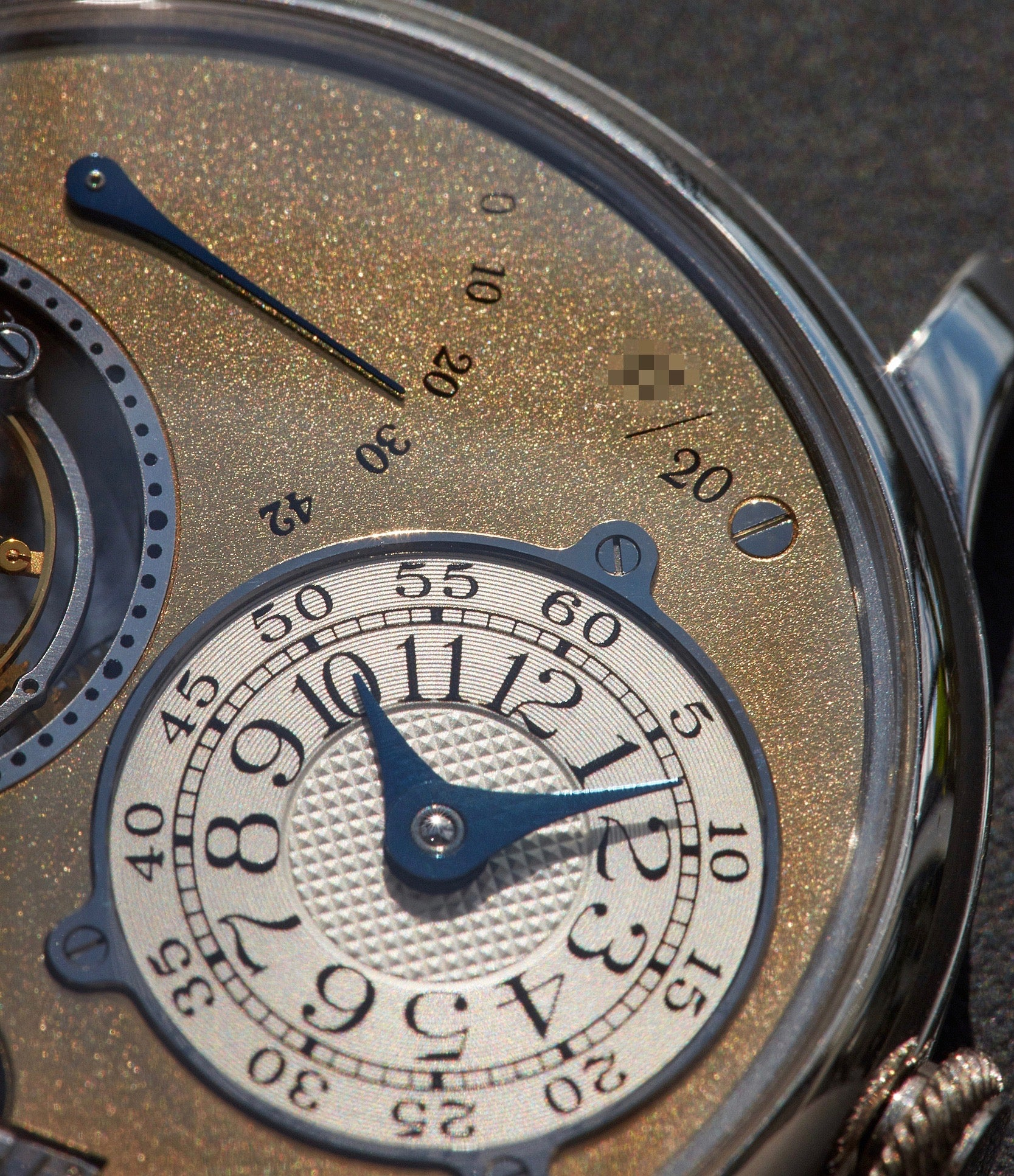 F.P. Journe Souscription Tourbillon close up on the dial numbering and power reserve shot by A Collected Man London