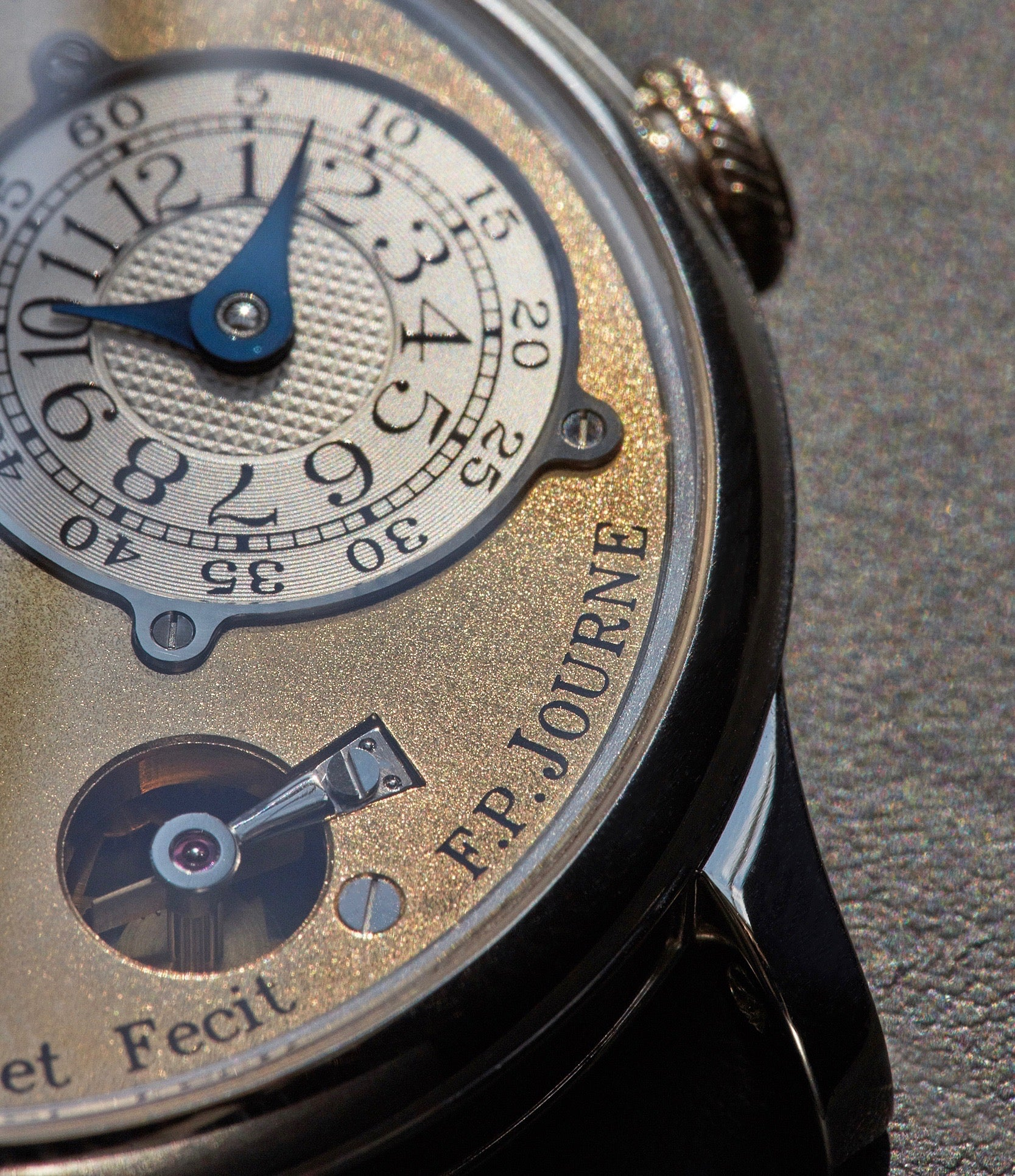 F.P. Journe Souscription Tourbillon close up on the rounded remontoire cock