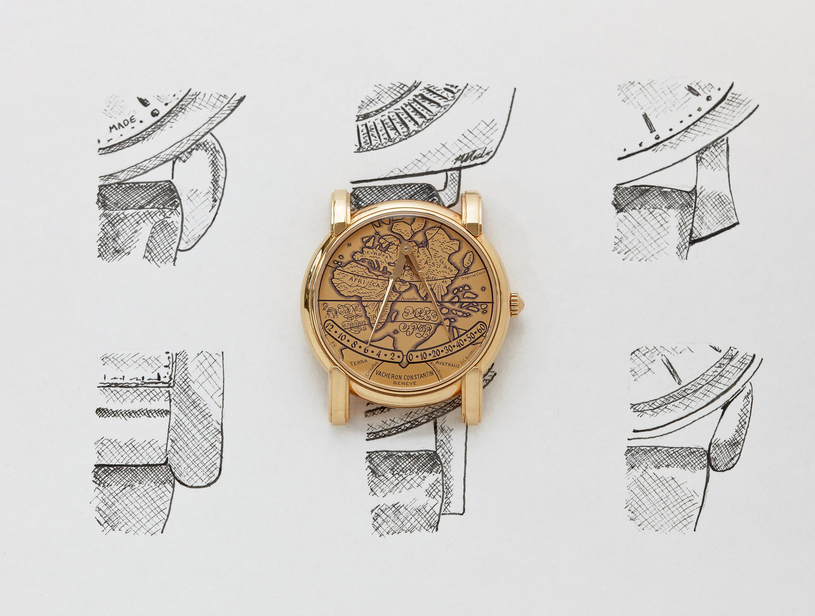 Vacheron Constantin Mercator in yellow gold on lug illustrations for A Collected Man London