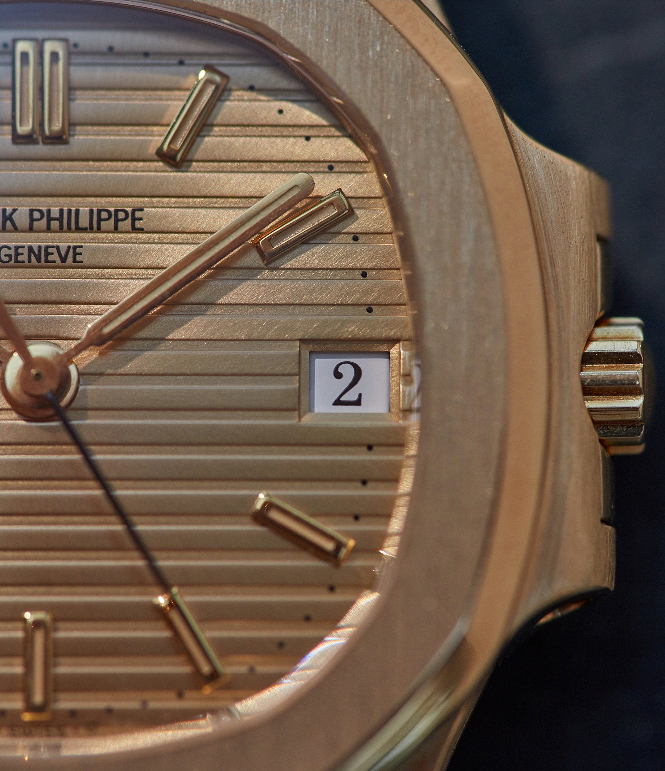 Patek Philippe Nautilus 3800 in yellow gold with gilt dial with a white date disc from A Collected Man London
