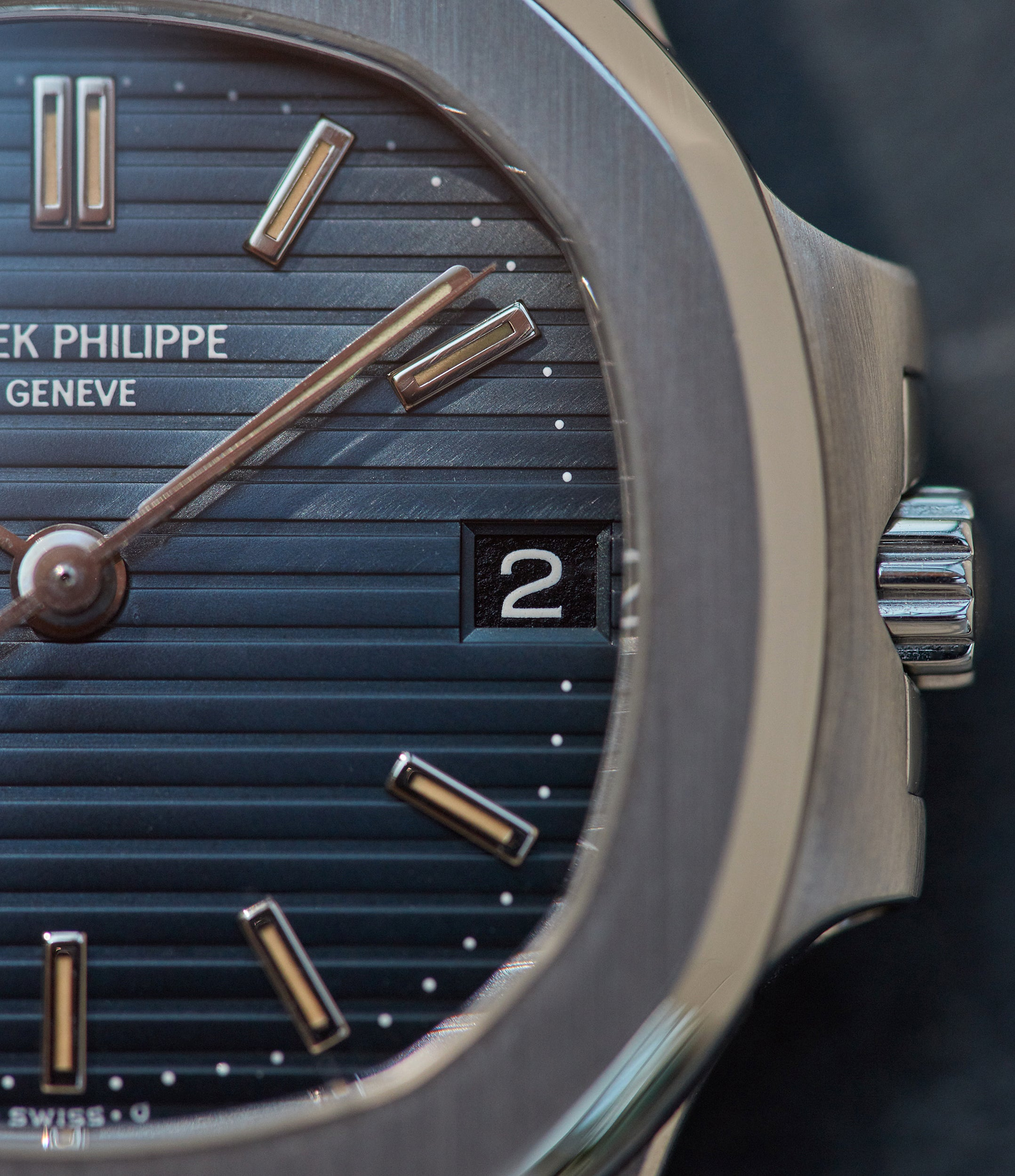 Patek Philippe Nautilus 3800 steel with a blue dial and black date disk from A Collected Man London