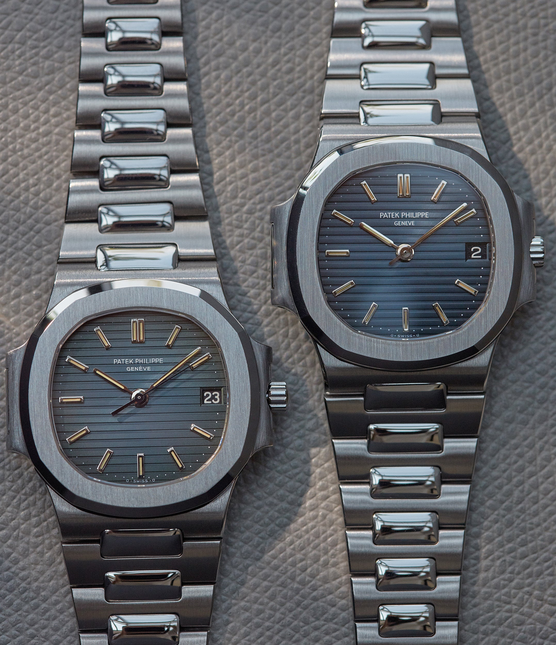 Two Patek Philippe 3800s in Steel showing different shades of blue from A Collected Man London