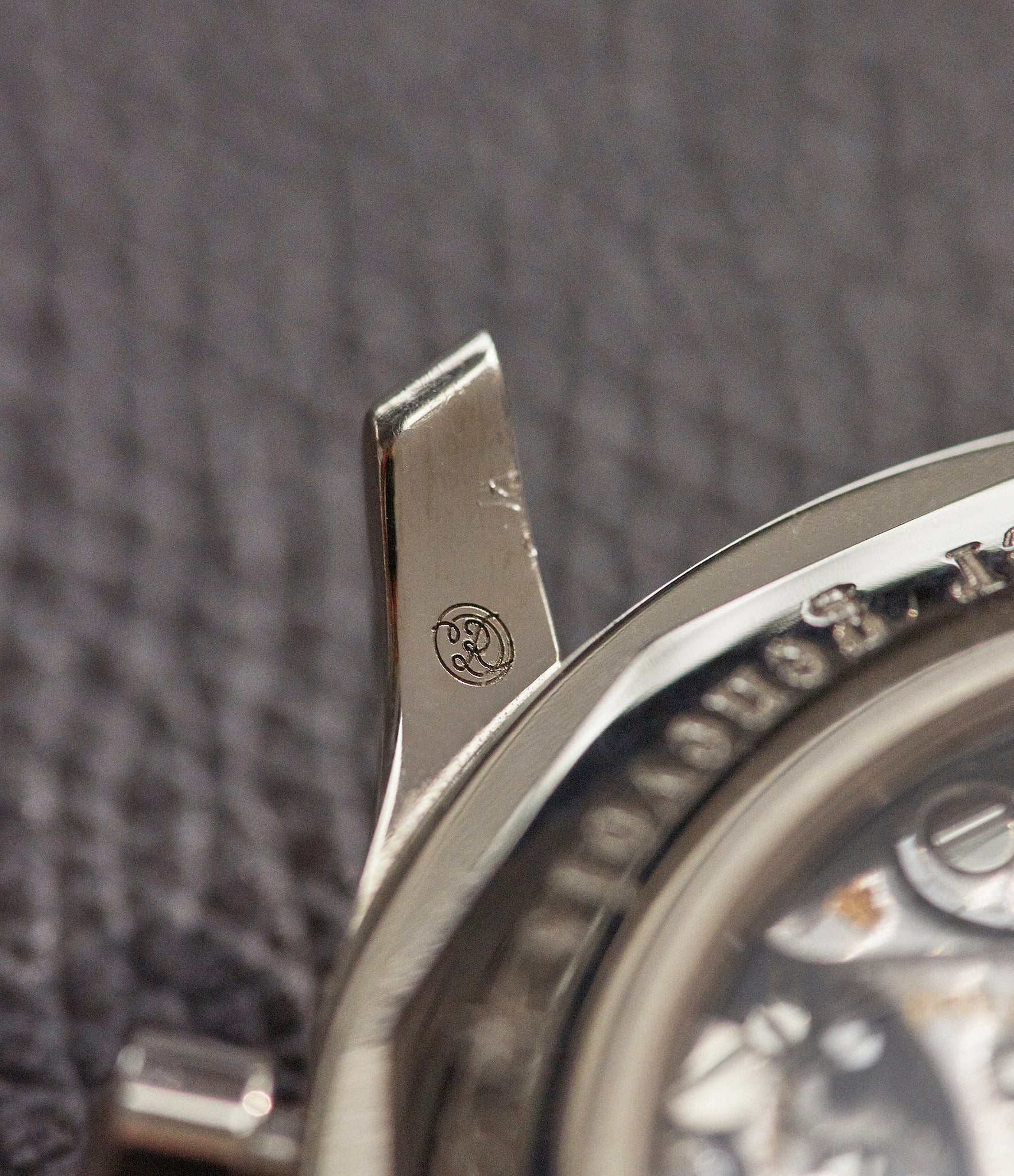 Roger Dubuis hallmark on the inside of a lug on a Roger Dubuis Hommage Chronograph at A Collected Man London