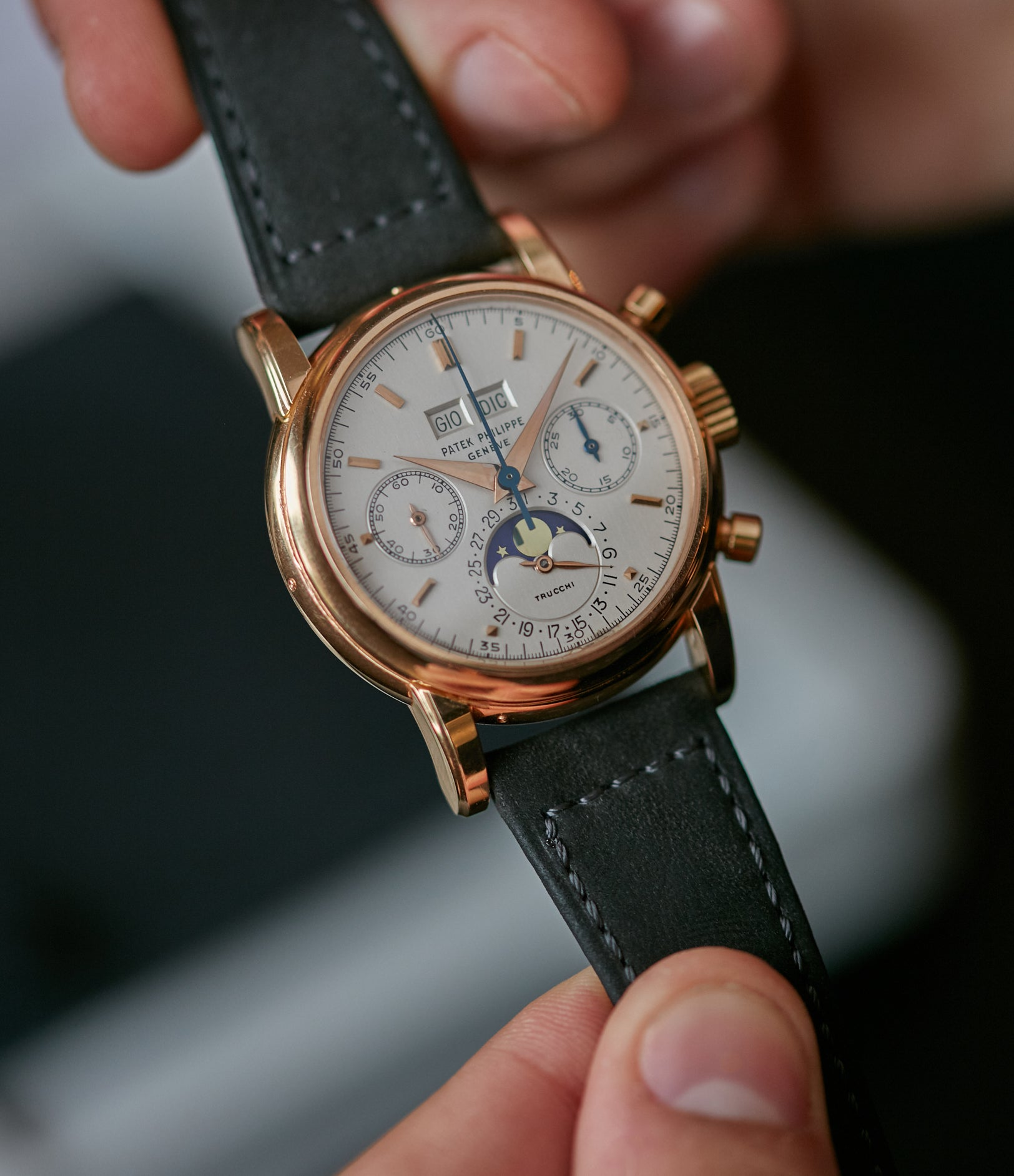 Patek Philippe ref. 2499 in rose gold with a Trucchi signed dial that sold at Phillips for CHF1.58m