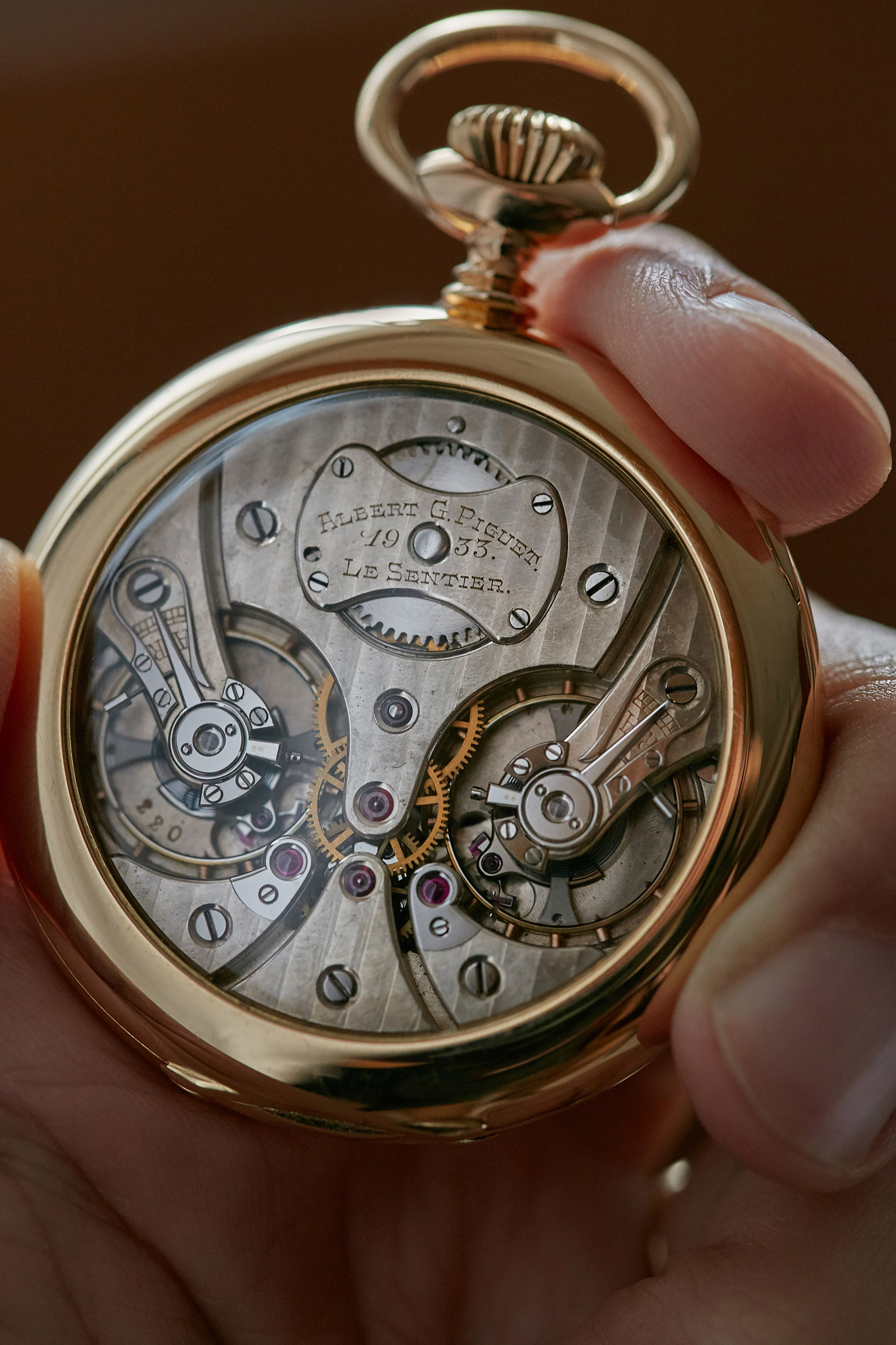 Piguet double escapement pocket watch in yellow gold movement for A Collected Man London
