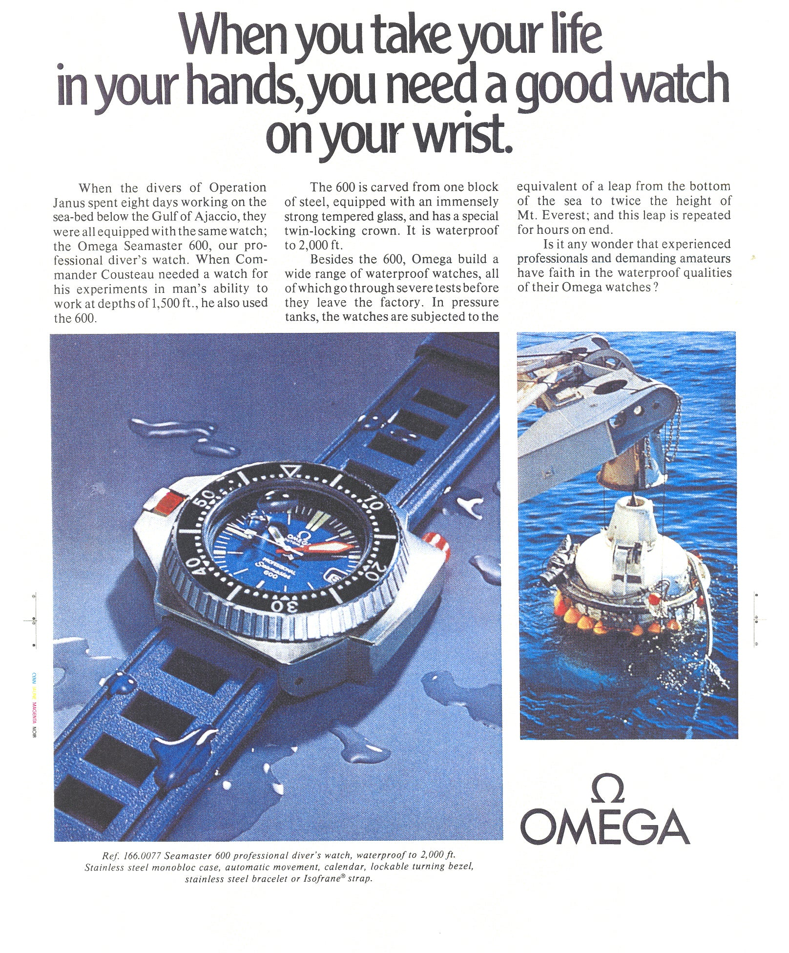 Omega Ploprof advertisement from the 1970s showing it being used for diving for A Collected Man London