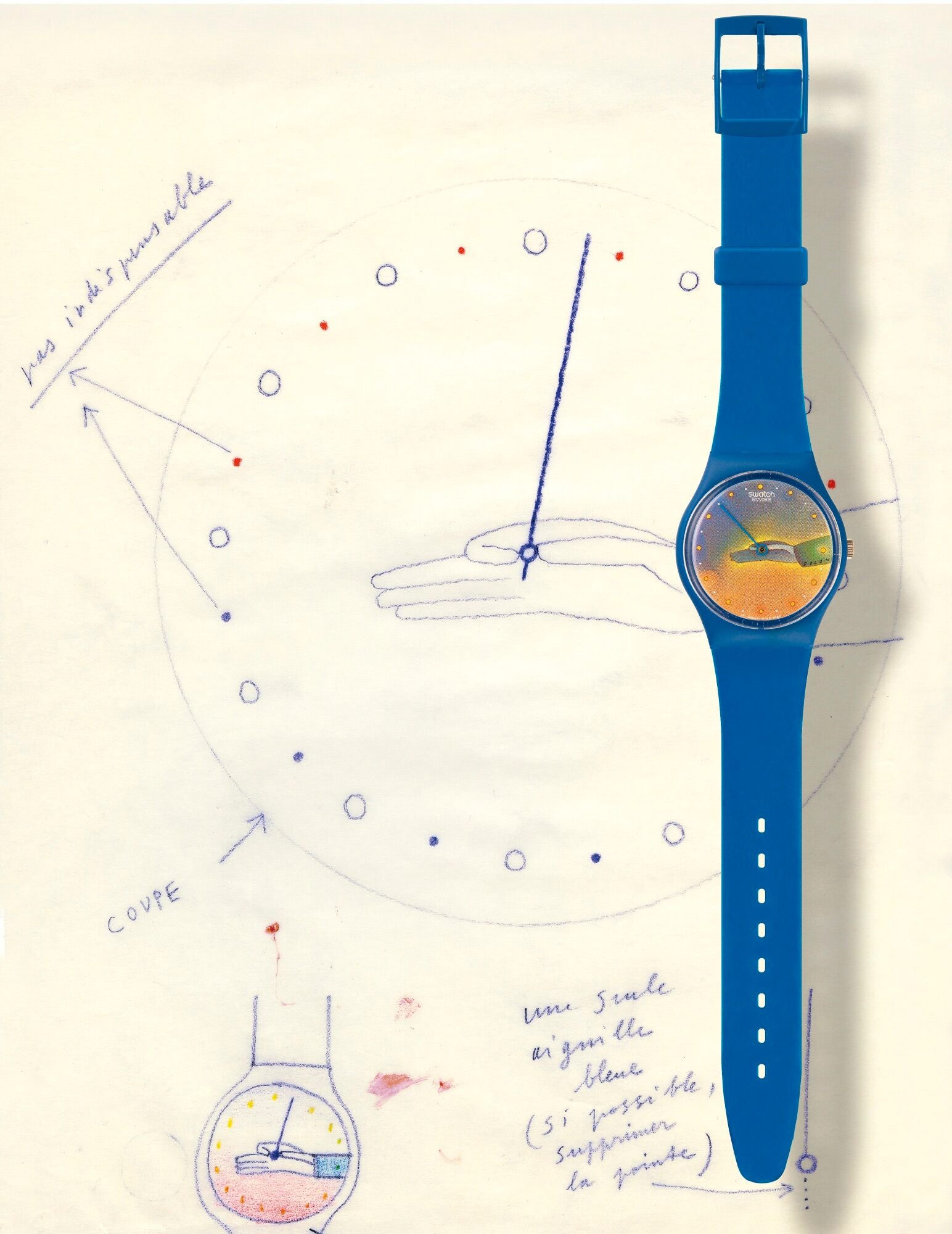 Les Temps designed by Jean-Michal Folon for Swatch as part of a three watch series for A Collected Man London