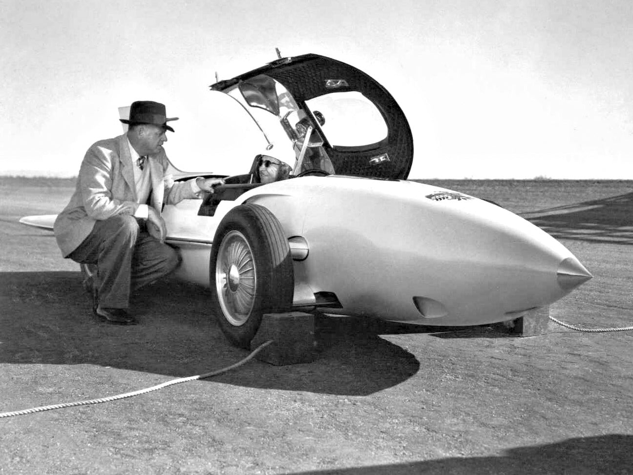 General Motors GM Firebird I with Harley Earl, who designed it, and Mauri Rose, the racecar driver for A Collected Man London