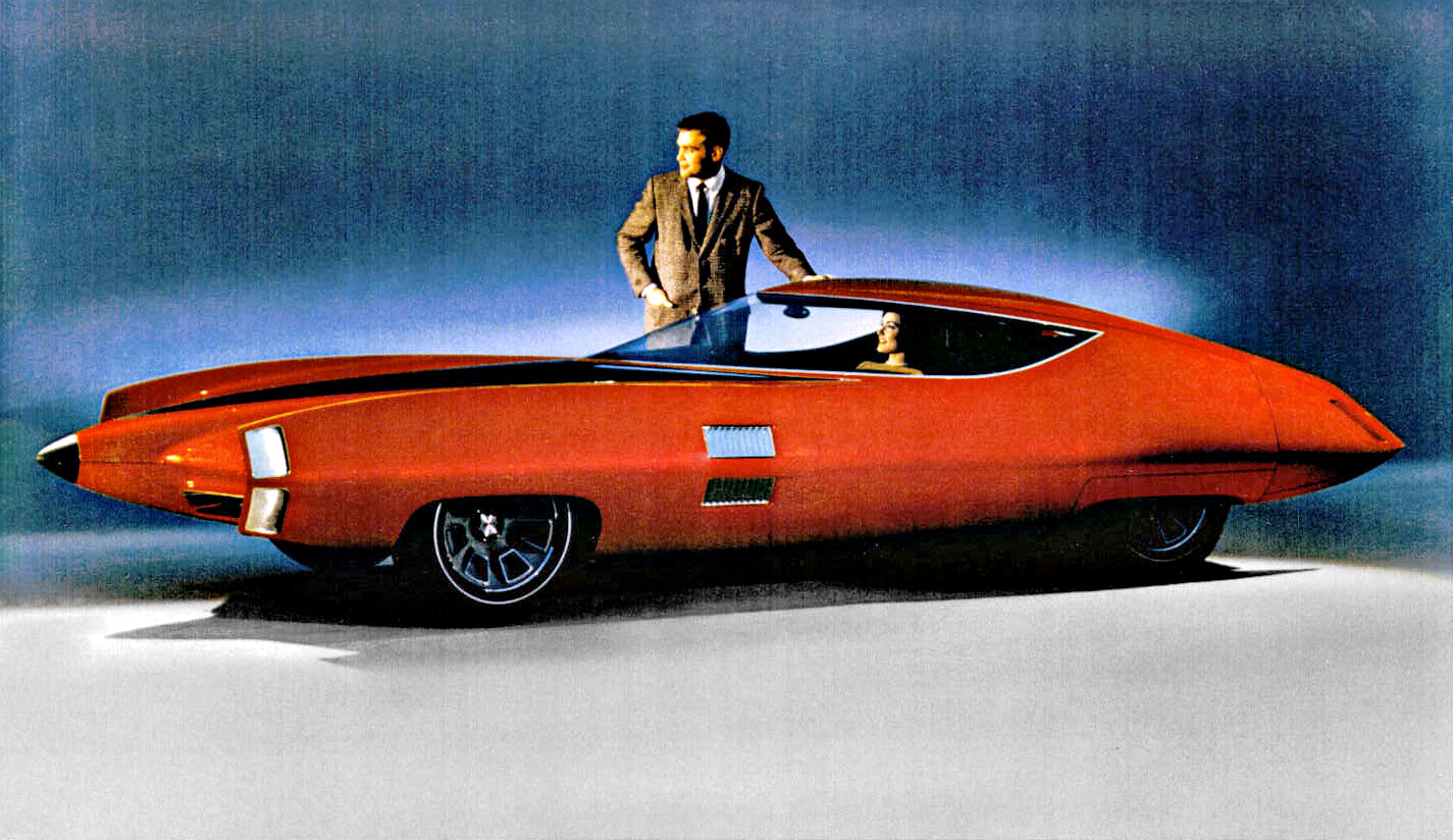 General Motors GM-X Stiletto concept car in red illustration showing fighter jet nose cone for A Collected Man London
