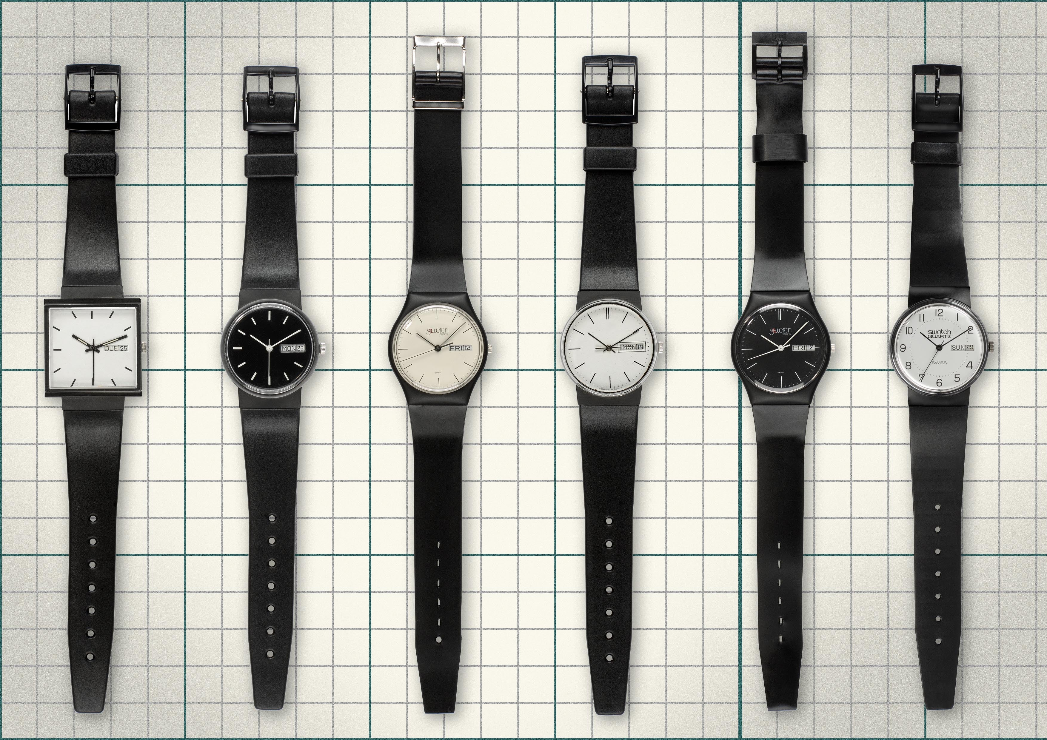 Swatch prototypes from 1981 before they were commercially launched for A Collected Man London