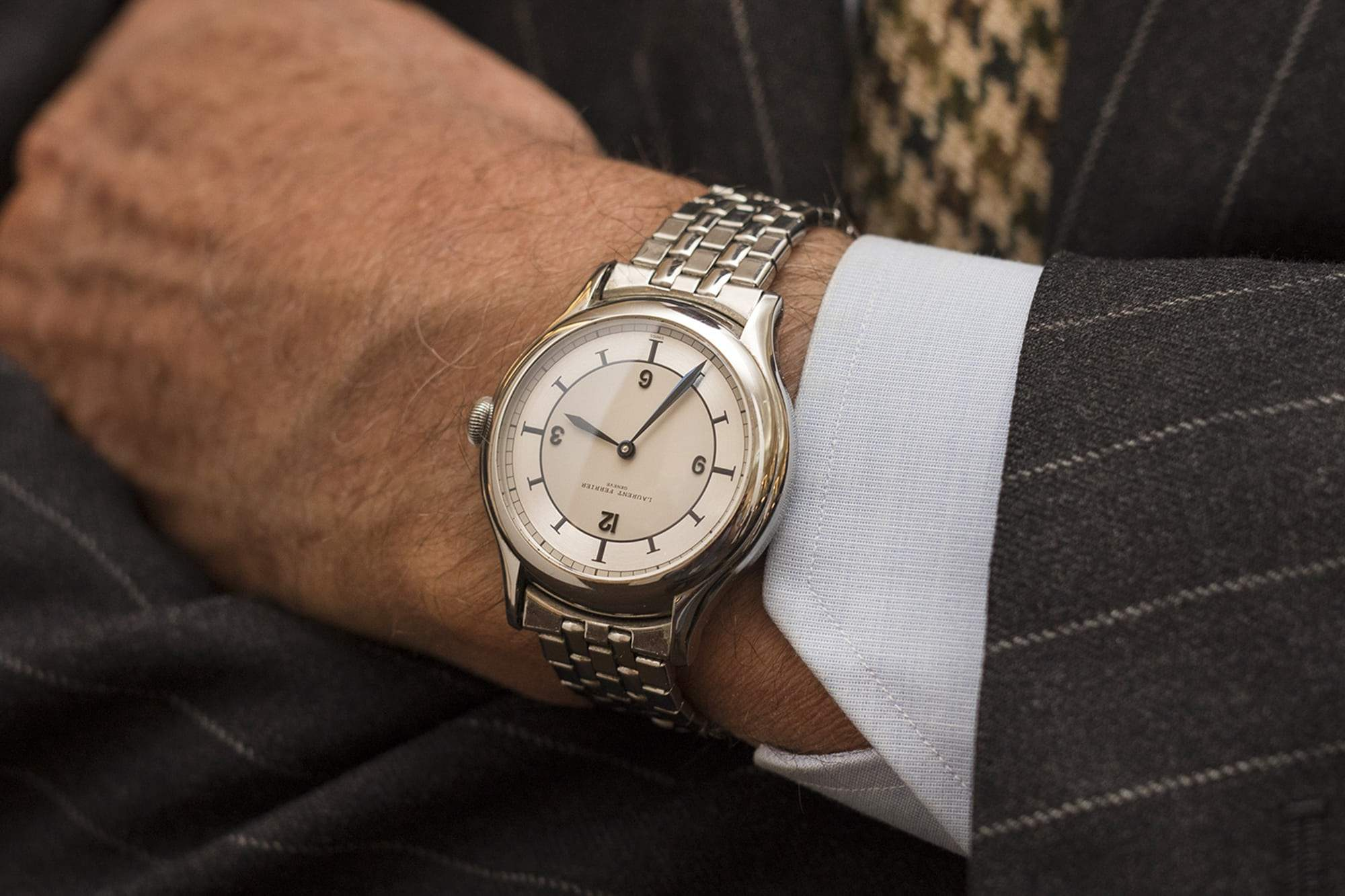 A Laurent Ferrier with a Gay Frères bracelets on the wrist of Jon Goldberger for A Collected Man London