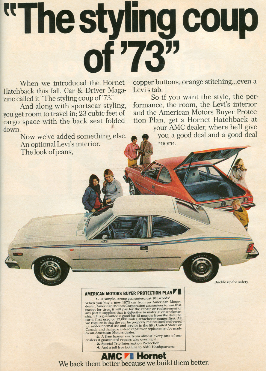 """1973 AMC Hornet Coupe advertisement stating """"The styling coupe of 73"""" for A Collected Man London"""