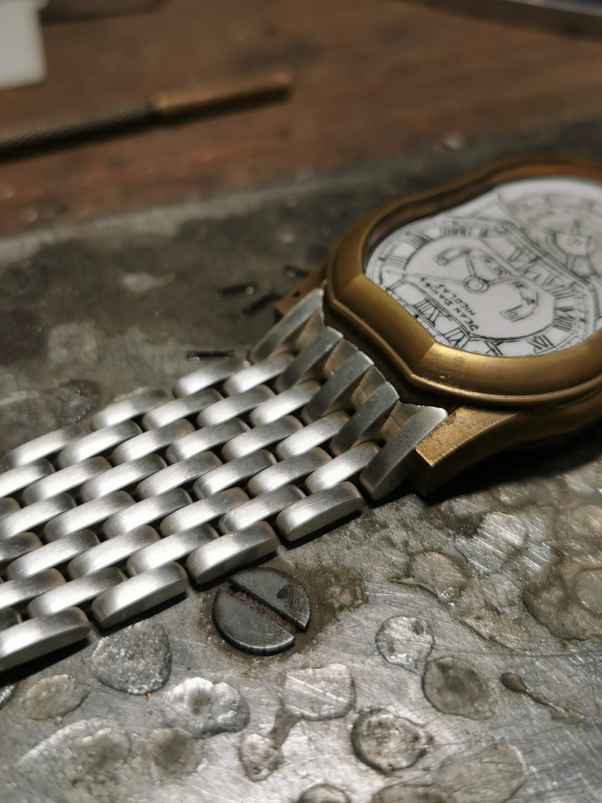 A watch bracelet under construction at Atelier de Chronométrie in Barcelona for A Collected Man London