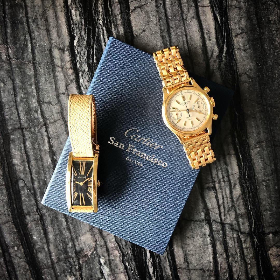 A gold Patek Philippe chronograph with a bracelet made by Atelier de Chronométrie for A Collected Man London
