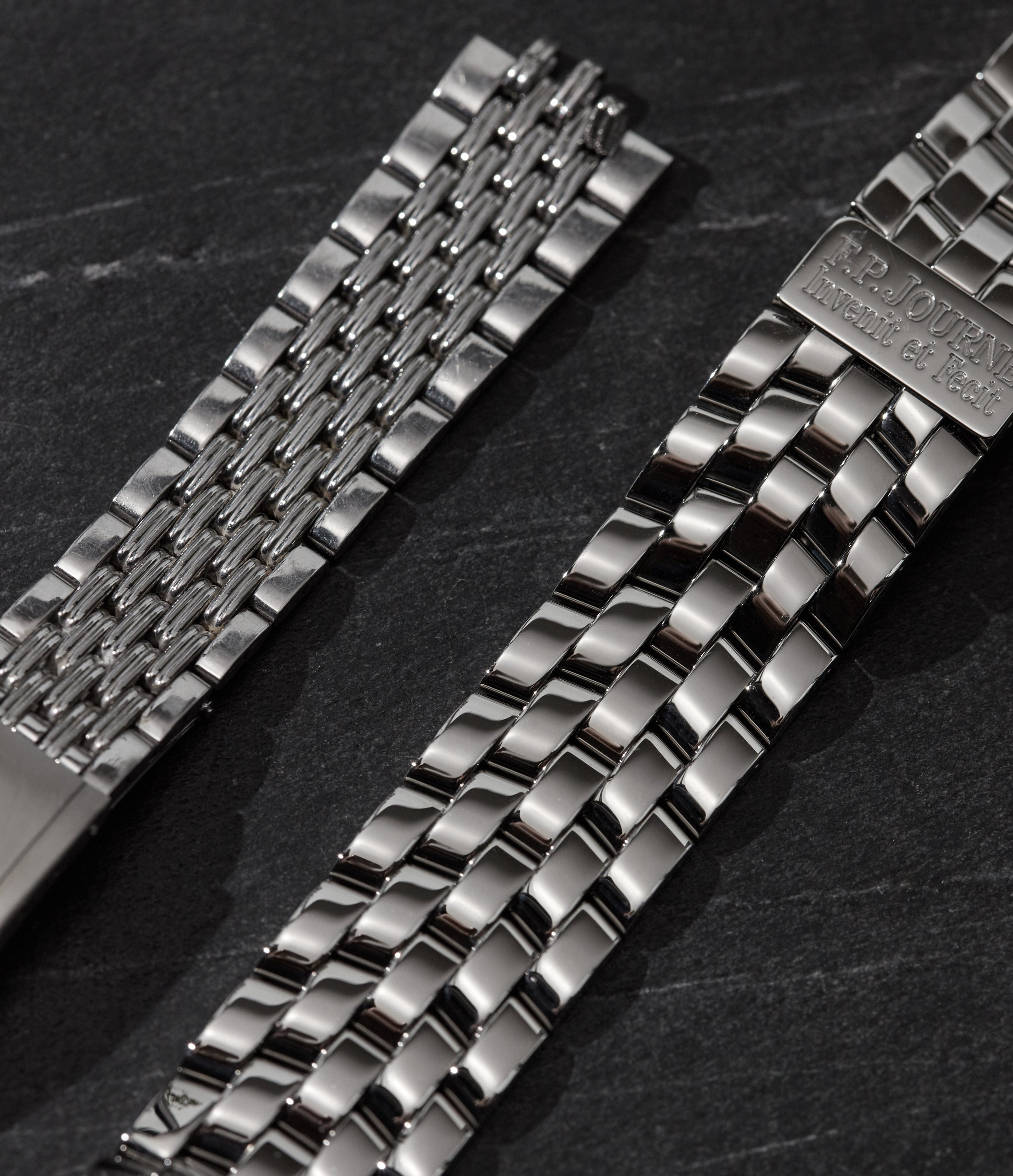 Two watch bracelets made by Tag Heuer and F.P. Journe showing different takes on the beads of rice style for A Collected Man London