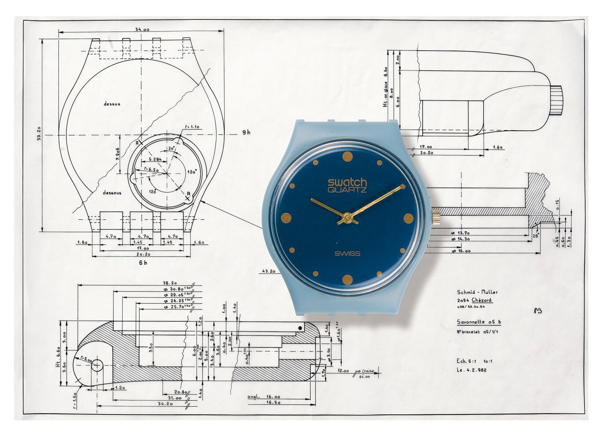 Blue quartz swatch on an original Muller Schmid technical drawing of a Swatch for A Collected Man London
