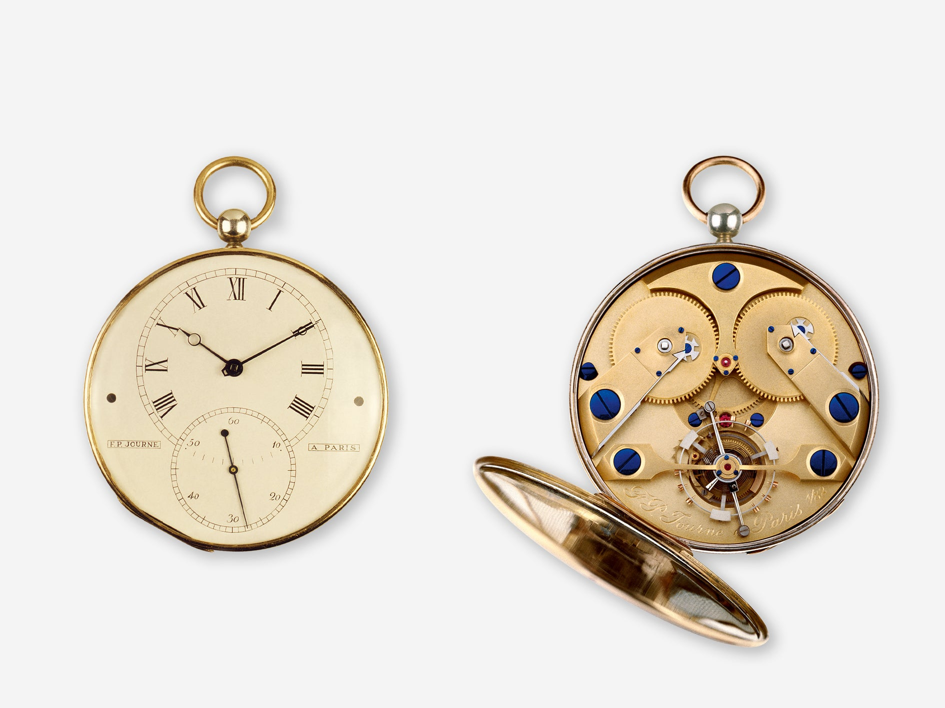 F.P. Journe's first attempt at a pocket watch with a tourbillon and double barrel springs