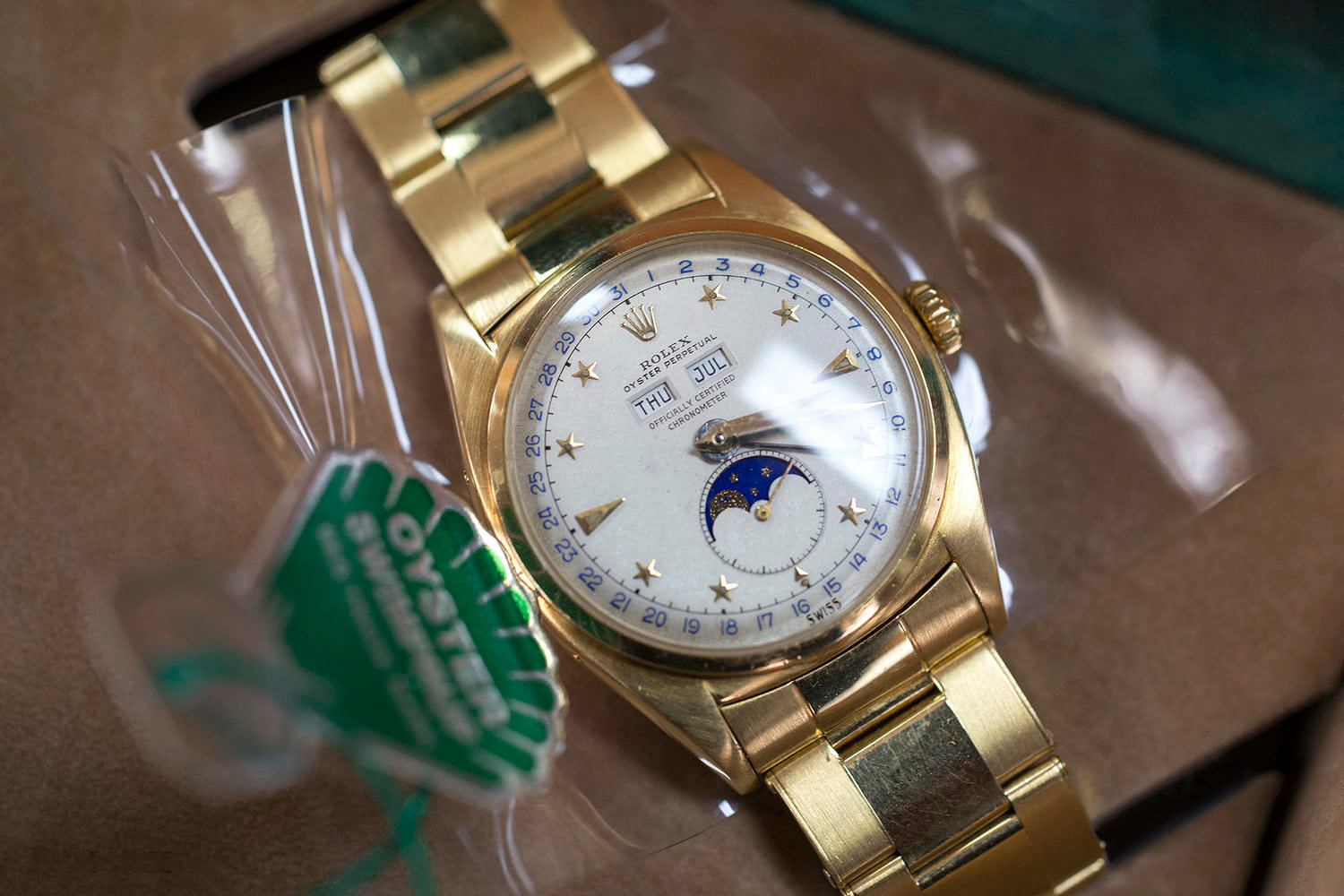 Rolex ref 6062 white stelline dial in yellow gold being sold at Private Eyes in Tokyo for A Collected Man London
