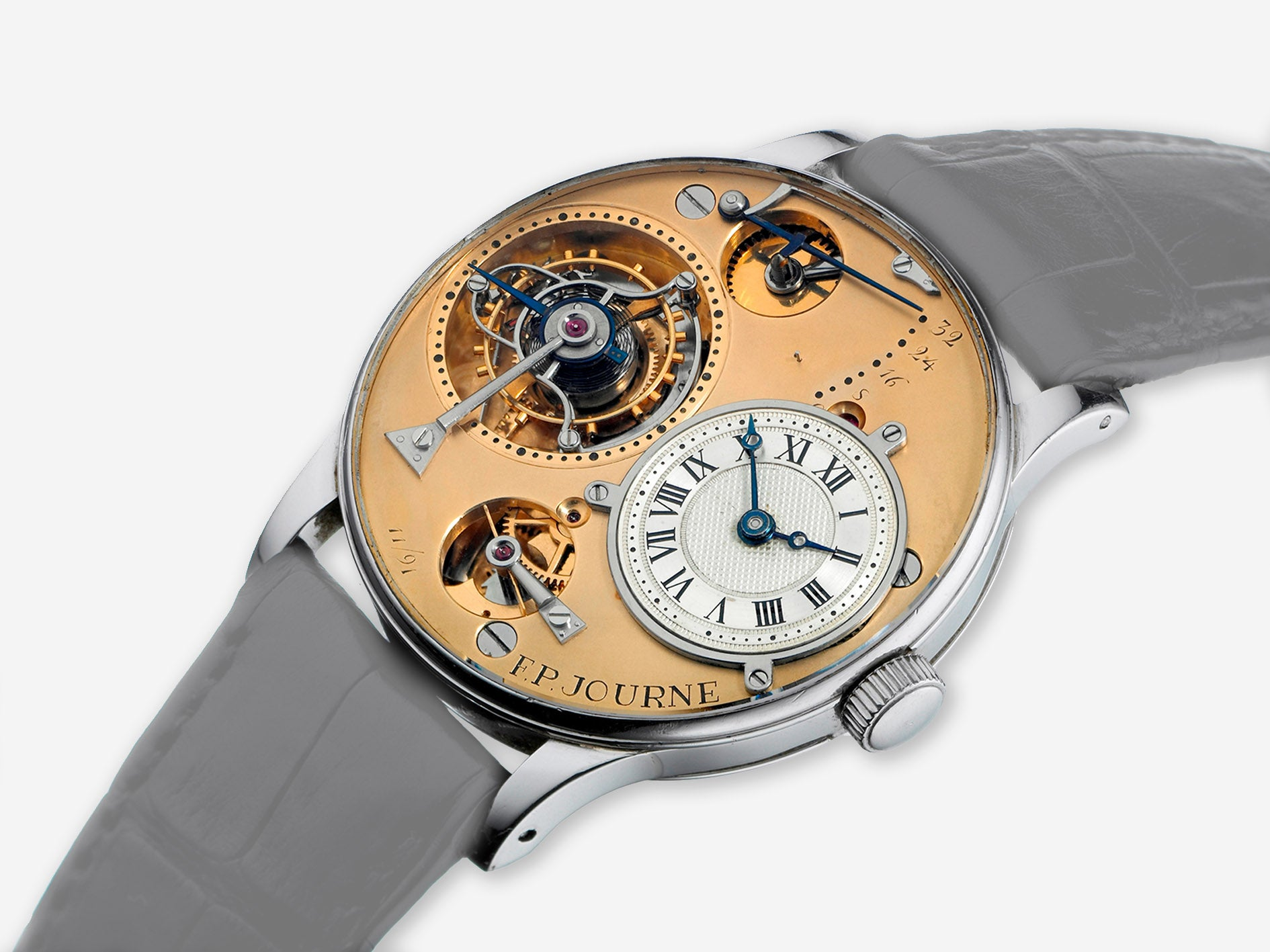 F.P. Journe's first and personal wristwatch made from gold and cased in platinum containing a tourbillon with remontoire