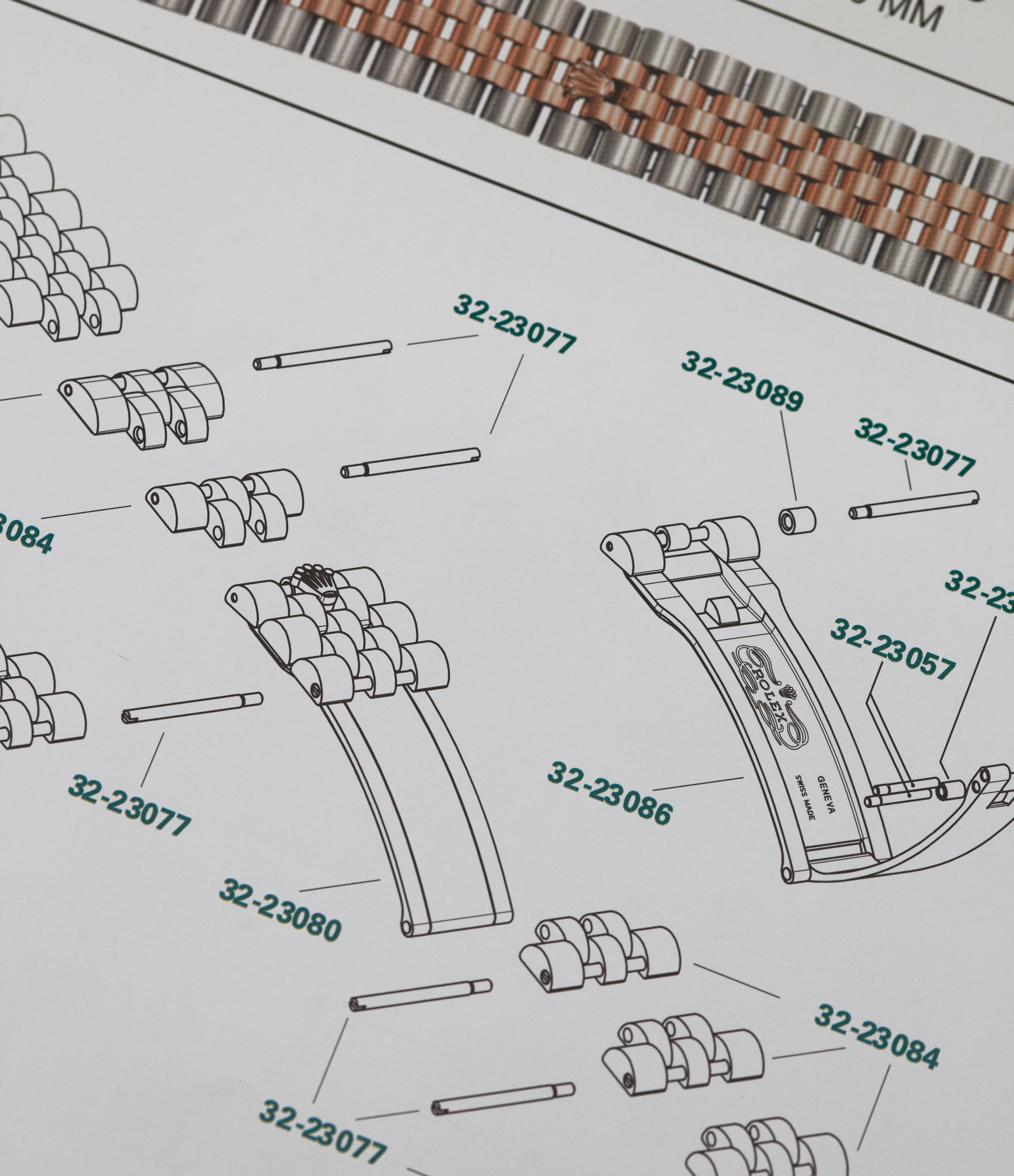 Rolex catalogues showing the construction of an Oyster bracelet for A Collected Man London