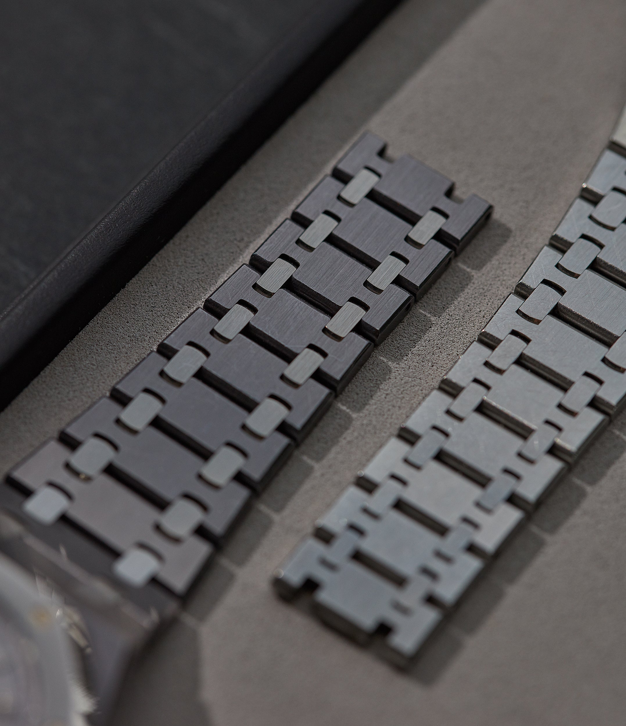 Two Royal Oak ref 14790 bracelets showing their tapered design for A Collected Man London